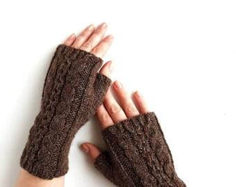 Knit brown armwarmers, handknit handwarmers, fingerless mitts, wool gloves, gloves for women, winter gloves