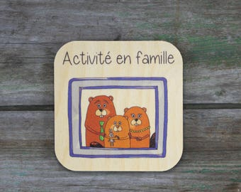 """""""Family activity"""" symbol - Daily Routine - 3 to 5 years old wooden"""