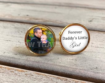 Father of the Bride Cufflinks - Custom Photo Cuff Links - GOLD Wedding Cufflinks - Picture Cuff Links - Father of the bride cuff links