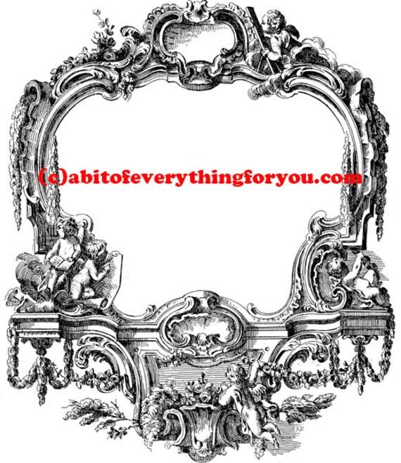 antique ornamental angel cupids frame printable art clipart png jpg download digital vintage image graphics digital stamp black and white