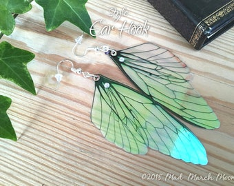 Fairy wing earrings, plain transparent iridescent cicada style with sterling silver ear wires, latch back and clip on version available