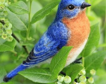 Made to order, Needle Felted Male Eastern Bluebird, life size felted bird, 11-12 month turnaround time