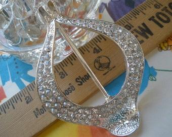 "Western Floral Rhinestone ribbon scarf slide buckle silver color metal embellish fancy 1.75"" opening 2.25"" by 3.25"" diamante sash slide"