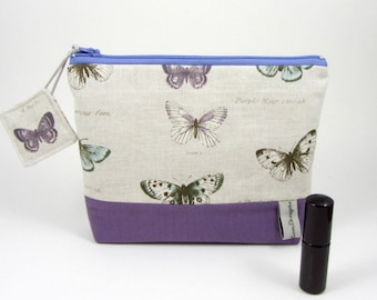 Cosmetic bag, butterfly make up bag, handmade pouch, cosmetic pouch with pockets, zipper pouch, for her, travel pouch, accessory case