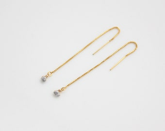 grey rough diamond gold filled threader earrings