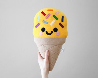 Yellow Banana Ice Cream Plushie, Rainbow Sprinkles, Bright Room Accessory, hannahdoodle