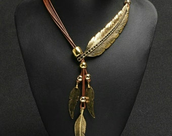 After Life Accessories Handmade Brown & Gold Feather Bib Necklace
