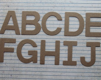 2 inch chipboard Block uppercase unfinished/raw alphabet 26 letters