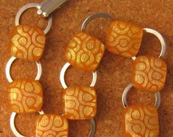 Fused Glass Bracelet  - Orange Dichroic Bracelet -  Link Bracelet - Glass Bracelet - Dichroic Jewelry - Fused Glass Jewelry