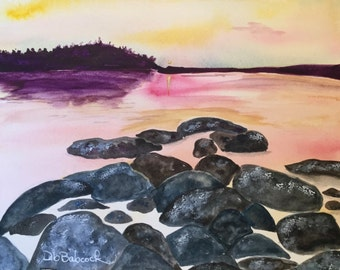 Beach Decor, Ocean Art, Nautical Art, Peaceful Watercolor Painting, Seascape Coastal Painting, Office Home Decor, Fine Art Original