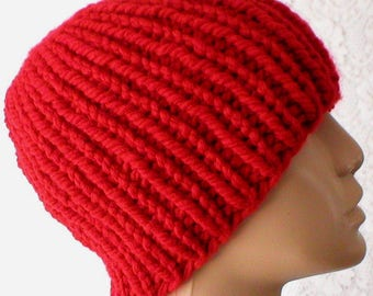 Red ribbed beanie hat, skull cap, knit hat, toque, beanie hat, red hat, mens womens hat, winter hat, longshoremans hat, red knit hat, hiking