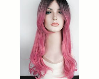 Ombre Pink black long wavy wig. synthetic hair. made to order.