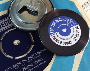 Wedding Favour Bottle Openers (Fridge Magnets) - Vintage Vinyl Record Design Complete With Organza Bags x40