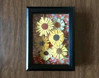 Paper Collage Framed Picture // Black Frame & Yellow Flowers