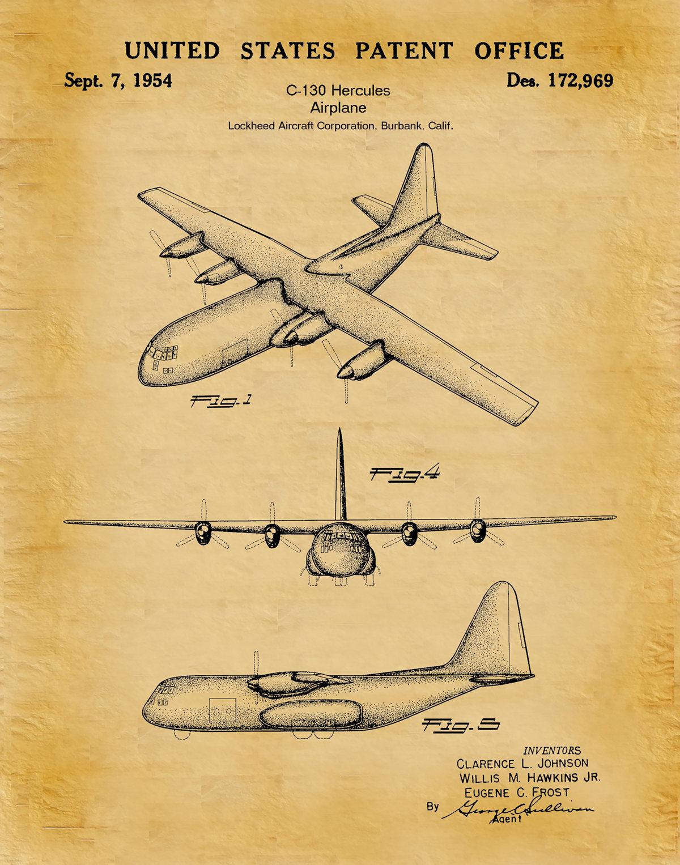 1954 C-130 Hercules Airplane Patent Print Lockheed Martin Bomber ...