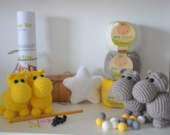 Diy baby mobile, Kit for baby mobile, Hippo, Baby mobile pattern, Yellow, Star, Patterns & how to, Nursery decor-Baby's mobile toy, Crochet