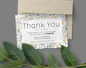 INSTANT Business Thank You Cards, Editable PDF Printable Etsy Card personalized shops for Etsy sellers thank you packaging Custom Thank You