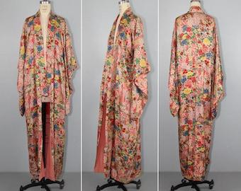 1930s kimono | silk robe | floral | vintage kimono | antique kimono | wedding kimono | dressing gown | flapper
