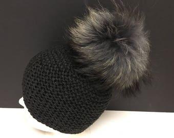Dark Grey Gray Wool Beanie Hat - Gray Raccoon Fur Pom Pom - READY TO SHIP