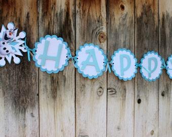 Olaf Frozen Birthday Banner, Olaf Birthday Banner
