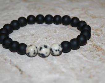 Black stone bracelet,mens bracelet,gemstone bracelet,beaded bracelet,man bracelet,jasper bracelet,bracelet,stretch bracelet ,gift bracelet