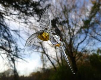 Hand Sculpted Flameworked Hanging Glass Hummingbird by Jenn Goodale