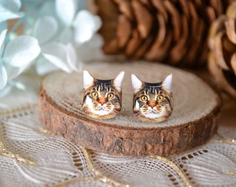 Maine coon Cat surgical steel earrings handmade Tiny Jewelry with linen cotton bag