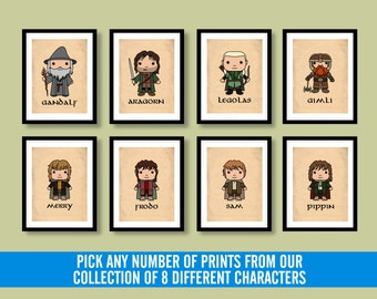 Lord of the Rings inspired wall art, kids wall art, Lord of the Rings, Gandalf, Frodo, The Hobbit, Lord of the Rings art, geek art