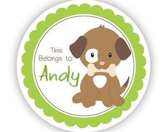 Name Tag Personalized Stickers - Lime Green Puppy Baby Dog Puppy Dog Name Label Sticker Labels, This Belongs To - Back to School Name Labels
