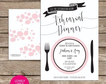 Rehearsal Dinner Invitation, Wedding Stationary, Wedding Rehearsal Dinner DIY Printable -  Lovely Little Party