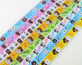 Origami Lucky Star Paper Strips Cute Cartoon Bear Star Folding DIY - Pack of 130 Strips