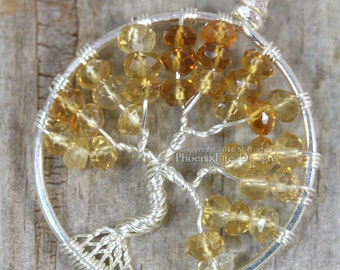 Citrine Tree of Life Pendant Silver Wire Wrapped Jewelry Shaded Ombre Amber Whisky Honey November Birthstone Necklace Yellow Topaz RTS