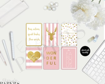 """Printable Journal Cards  """"Gold & Pink style""""_pastel pink_golden cards_PDF"""