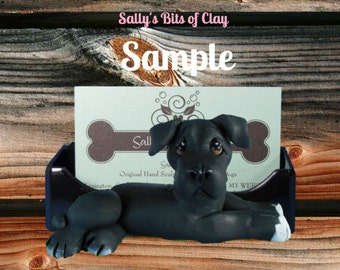 BLACK with some white Pit Bull Dog Business Card Holder / Iphone / Cell phone / Post it Notes OOAK sculpture by Sally's Bits of Clay