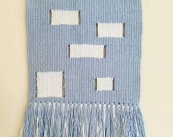 Baby blue and white minimal large woven wall hanging