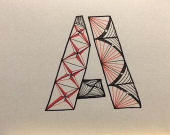 Zentangle Inspired Alphabet  Blank Greeting Cards