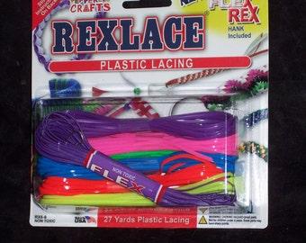 Rexlace plastic lacing assortment with bonus FlexRex,27 yds,ass't colors,gimp,kids craft,USA Made,lanyards,beading,braiding,VBS,camp