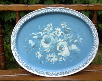 Vintage Blue Floral Roses Tray-2 Available