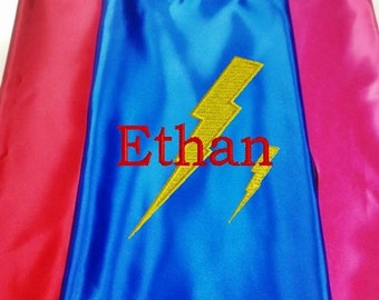 Super Hero Kids Cape,  Embroidered Super Hero Lightning Bolt Cape  Personalized with Monogram Royal Blue
