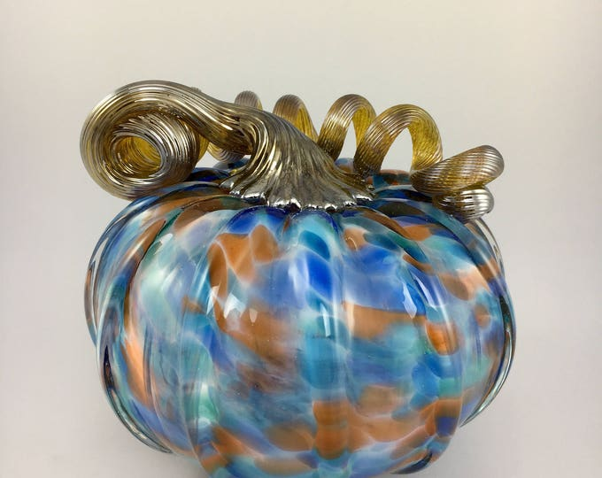 """Featured listing image: 4.5"""" Glass Pumpkin by Jonathan Winfisky - Mottled Series - Blue /Rust- Hand Blown Glass"""