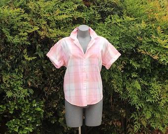 Womens Vintage Diane Von Furstenberg Button Up Blouse, Short Sleeve, 1980s, 1990s, Pink & Peach, Size Large