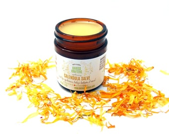 Calendula Salve with Olive Infused Calendula, All Natural, Healing Herbs, All Purpose Salve, Great for Dry Skin, Chapped Lips, Minor Cuts
