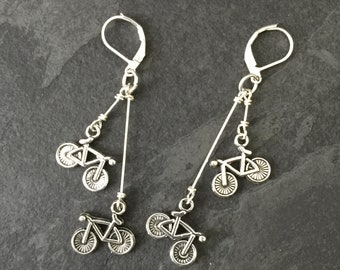 Silver Bicycle Earrings / Bicycle Jewelry, Bike Jewelry, Bike Earrings, Bicycle Gifts, Mountain Bike, Bike Lover, Cyclist Earrings, Biker