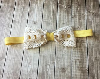 Cream Crocheted Lace Bow with mustard yellow Headband - Newborn Infant Baby Toddler Girls Wedding Flower Girl