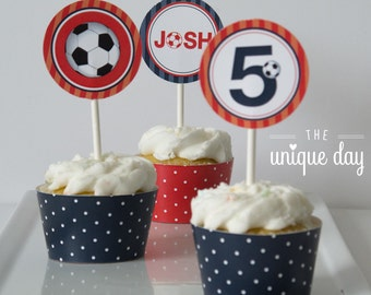 Soccer Cupcake Toppers - Soccer Birthday Party - Printable Cupcake Toppers - Personalized // SOC -06