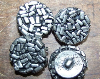ON SALE VINTAGE Buttons Silver Chunky Confetti  4 Pieces