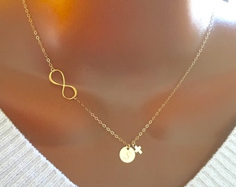 14k gold filled infinity necklace with initial disc and tiny cross, personalized letter, personalized necklace, personalized gifts