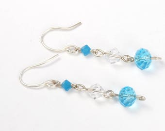 Handmade Argentium Sterling silver earrings, crystal earrings, sterling silver dangle earrings, Sterling silver jewelry