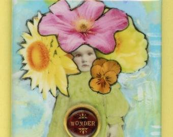 """WONDER Flower Child Vintage Photo Floral Little Girl Collage - Inspirational - 2"""" Square Magnet #2M22"""