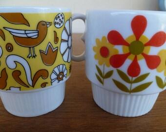 Mid Century, Pair of Retro Coffee Mugs Cups Japan